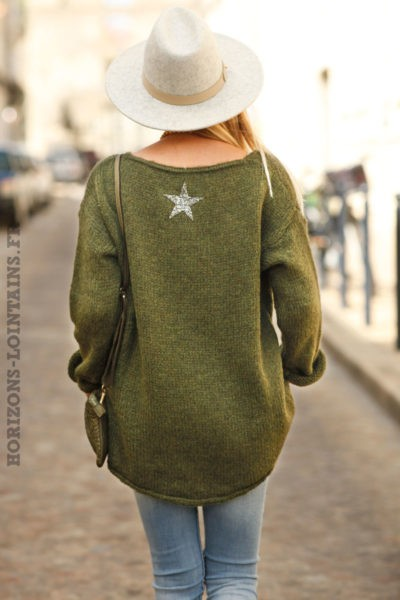 Pull-kaki-mohair-étoile-strass-dos-bohème-look-femme-esprit-hippie