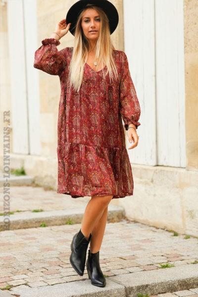Robe-courte-bordeaux-imprimé-cachemire-c158-7