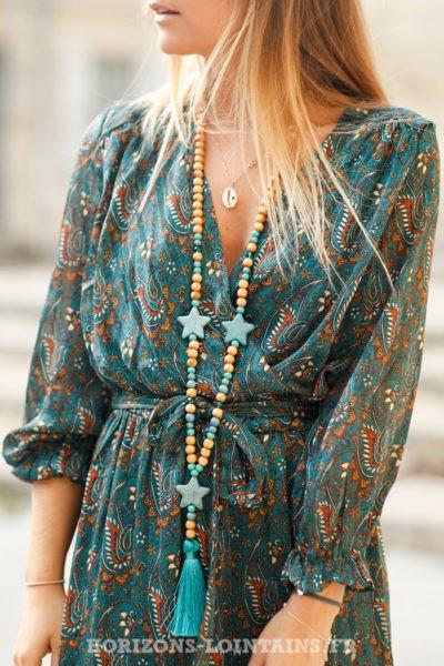 Robe-longue-bleu-canard-imprimé-cachemire-femme-look-bohème-hippie