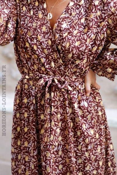 Robe-longue-bordeaux-imprimé-floral-doré-branches-olivier-vêtement-femme-marron-rouge