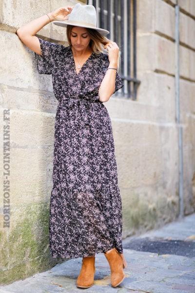 Robe-longue-noire-imprimé-cerisiers-fleurs-motif-floral-vêtement-femme-C148