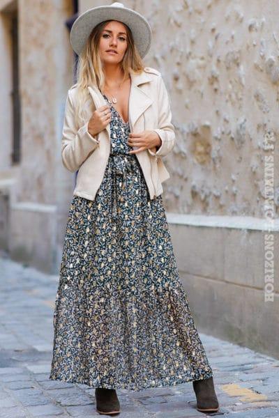 Robe-longue-verte-imprimé-floral-doré-branches-olivier-vêtement-femme