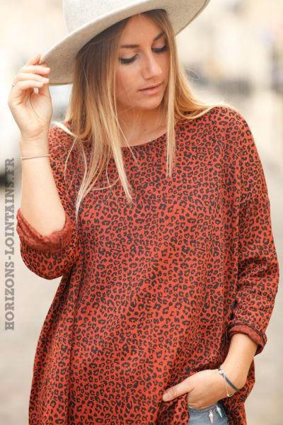 Top-terracotta-matière-jersey-imprimé-léopard-teeshirt-femme-look-bohème-esprit-rock-hippie-détail