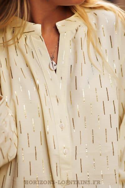 Tunique-crème-imprimé-doré-chemise-légère-blanc-cassé-look-urbain