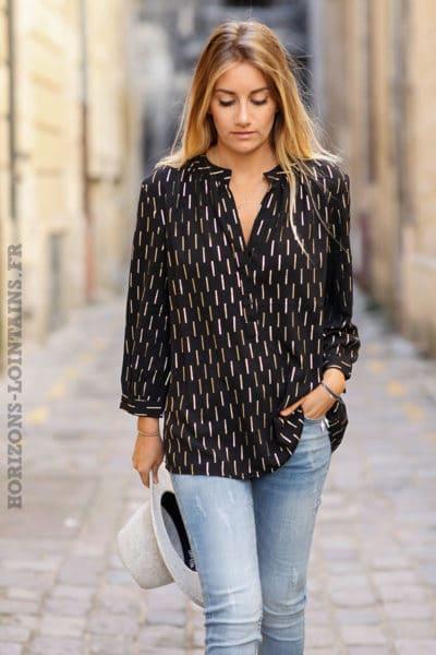 Tunique-noire-imprimé-doré-chemise-légère-couleur-noir-femme-C193