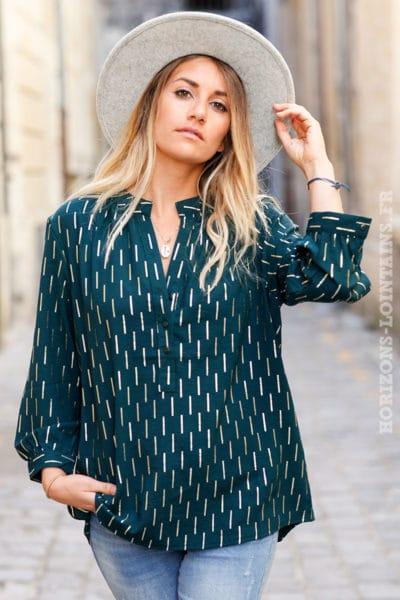 Tunique-verte-imprimé-doré-chemise-légère-couleur-vert-bouteille-anglais-kaki-femme