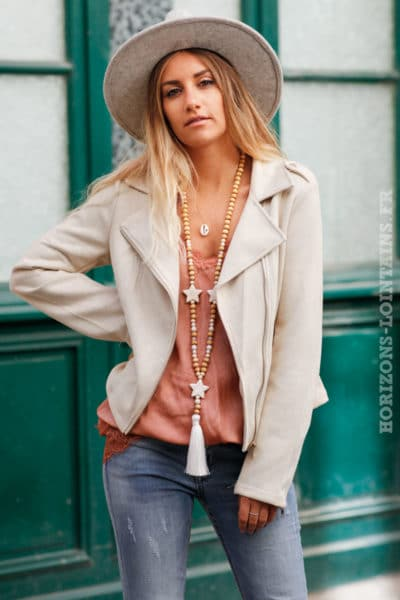 Perfecto beige femme look urbain rock