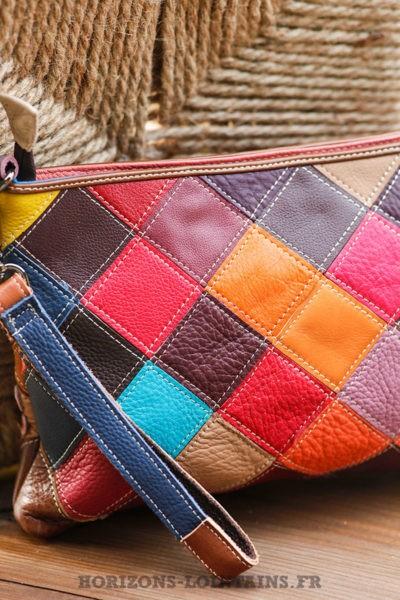 Pochette cuir patchwork fleur couleur