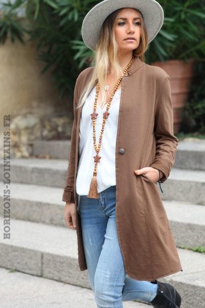 Blazer-long-camel-avec-tête-mort-dorée-veste-marron-femme-look-bohème-esprit-hippie-C213-06