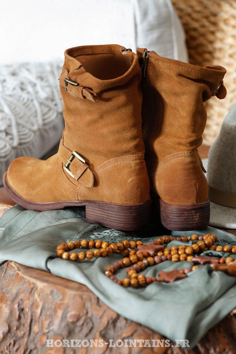 daim à cuir boucles camel Boots rhQdCBotsx