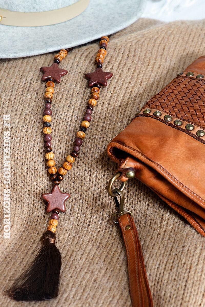 Sautoir chocolat femme perles bois 3 étoiles et pompons style bohème