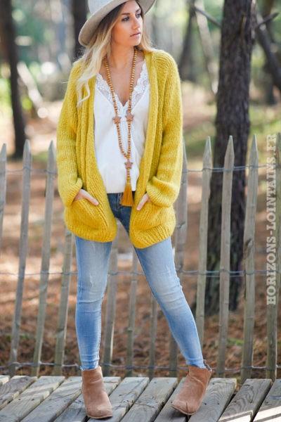 Gilet-jaune-grosses-mailles-manches-raglan-avec-poches-esprit-bohème-hippie-C029