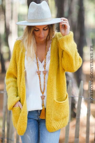 Gilet-jaune-grosses-mailles-manches-raglan-avec-poches-esprit-bohème-hippie-C029-8