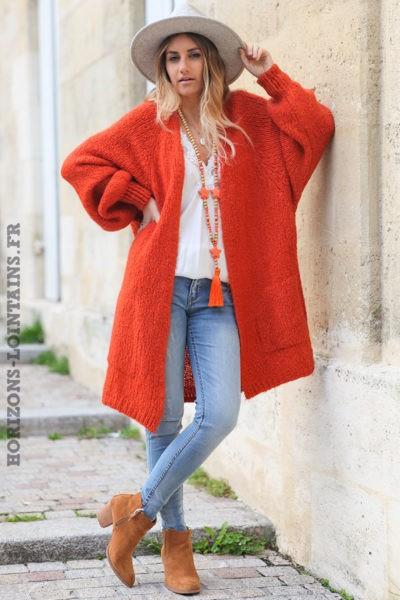 Gilet-long-brique-orange-manches-raglan-resserrées-avec-poches-style-bohème-esprit-hippie-C030