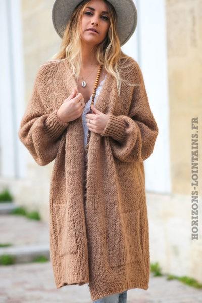 Gilet-long-camel-manches-raglan-resserrées-avec-poches-style-bohème-esprit-hippie-C030