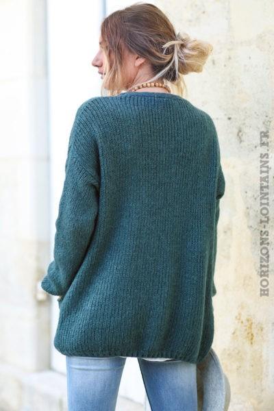 Gilet-vert-gris-mohair-avec-poches-vêtement-femme-esprit-bohème-look-hippie-dos-C031