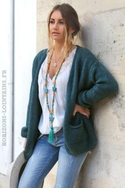 Gilet-vert-gris-mohair-avec-poches-vêtement-femme-moderne-esprit-bohème-look-hippie-chic