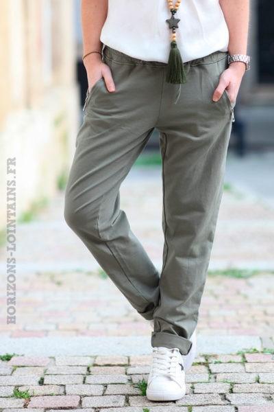 Jogging-kaki-ceinture-élastique-poches-zip-b053