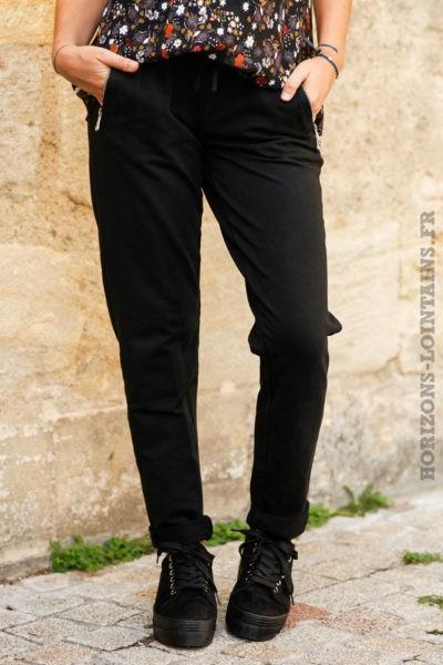 Jogging-noir-ceinture-élastique-poches-zip-pantalon-femme-détail