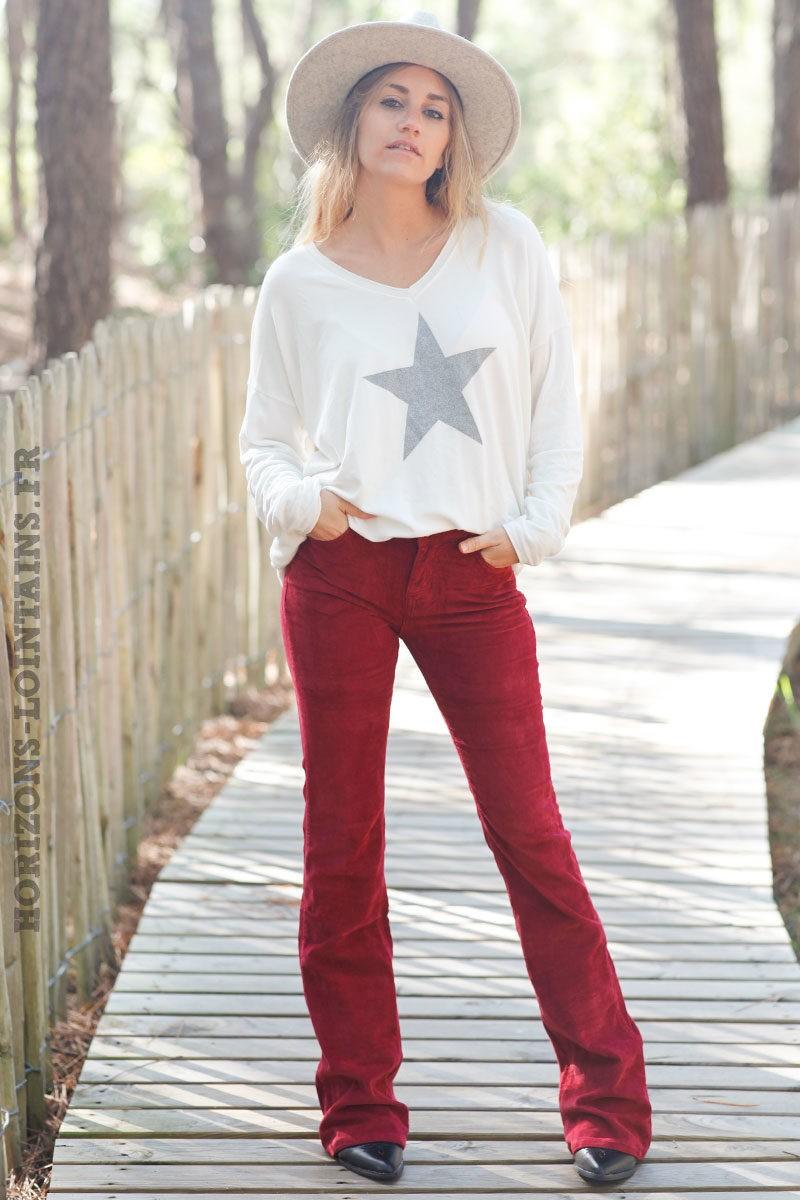 Pantalon-évasé-bordeaux-matière-velours-esprit-bohème-look-femme-hippie-C040-6