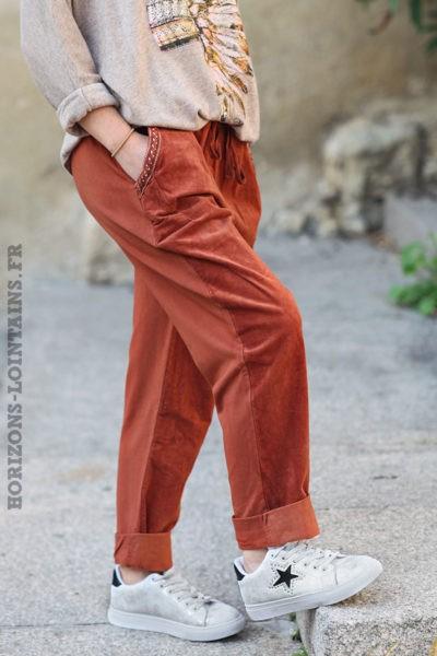 Pantalon-terracotta-bimatière-velours-look-bohème-dégaine-hippie-C039