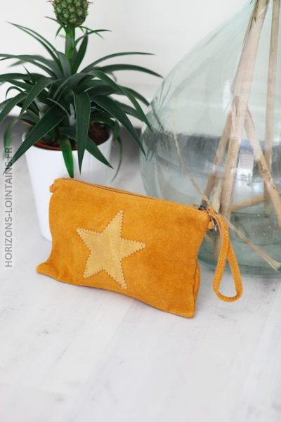 Pochette moutarde cuir velours étoile pochette intérieur C37 (1)