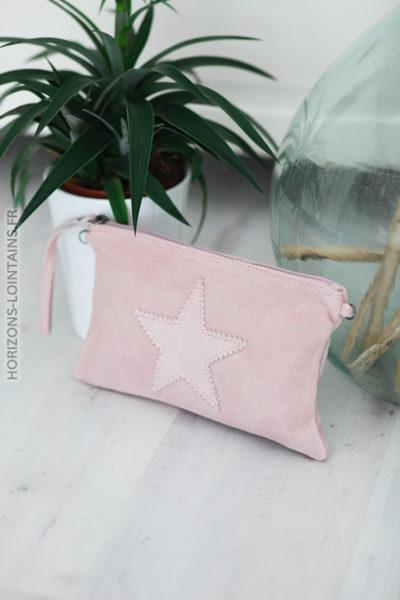 Pochette rose poudré cuir velours étoile pochette intérieur C37 (1)