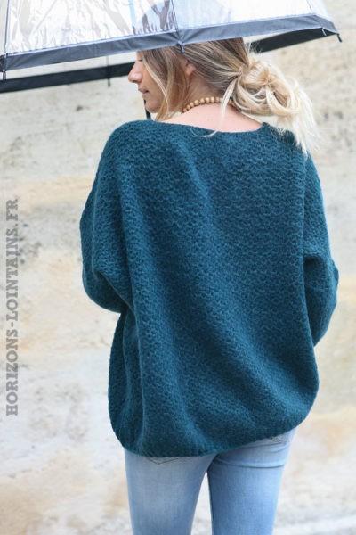 Pull-bleu-canard-chaud-maille-nid-abeille-vêtements-femme-C209