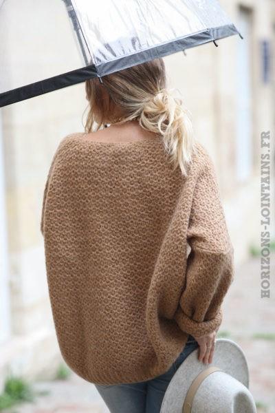 Pull-camel-chaud-maille-nid-abeille-vêtements-femme-C209