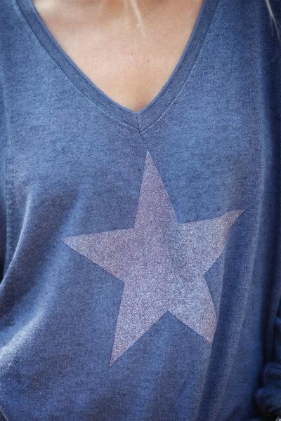 Pull-fin-bleu-jean-avec-étoile-argenté-c217
