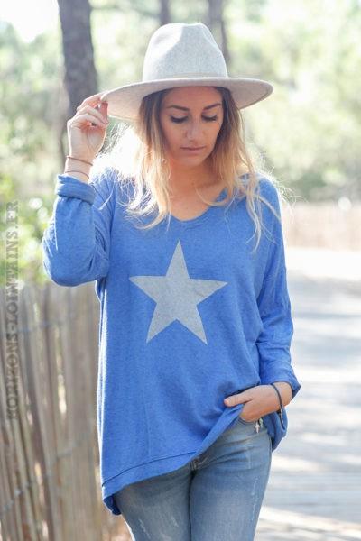 Pull-fin-bleu-roi-avec-étoile-argenté-c217