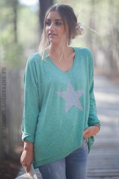 Pull-fin-vert-avec-étoile-argenté-c217