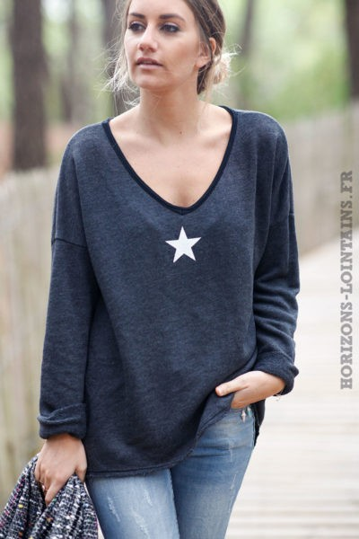 Pull-gris-foncé-confort-avec-étoile-blanche-vêtements-femme-confortable
