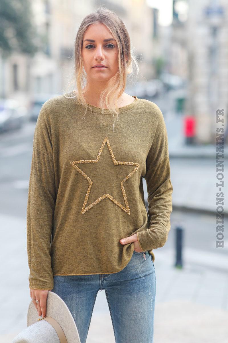 Pull-léger-femme-couleur-jaune-chiné-noir-avec-étoile-relief-brodée-esprit-bohème-confortable-look-C230