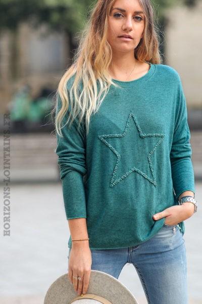 Pull-léger-femme-couleur-vert-celadon-foncé-avec-étoile-relief-brodée-esprit-bohème-look-C230