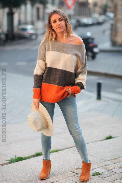 Pull-loose-bandes-larges-gris-et-orange-c232