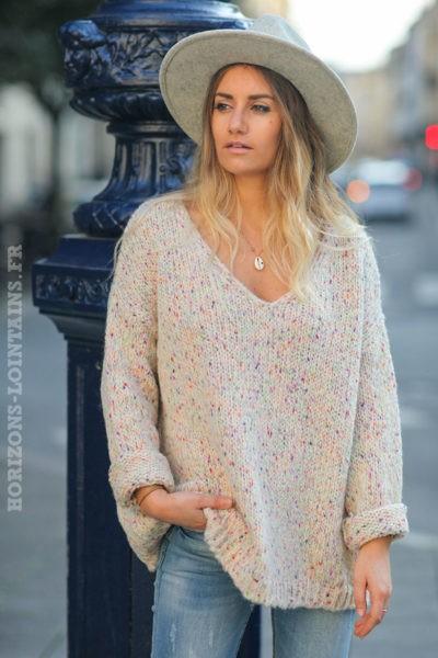 Pull-loose-beige-maille-chiné-look-hippie-esprit-bohème-vêtements-femme-C236