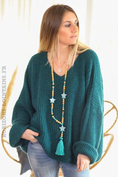 Pull-loose-bleu-canard-mohair-avec-poches-vêtement-femme-hiver-C218
