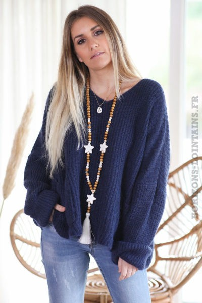 Pull-loose-bleu-marine-mohair-avec-poches-vêtement-femme-hiver-C218
