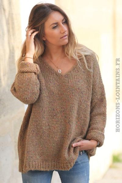 Pull-loose-camel-maille-chiné-femme-look-hippie-esprit-bohème-vêtement-C236