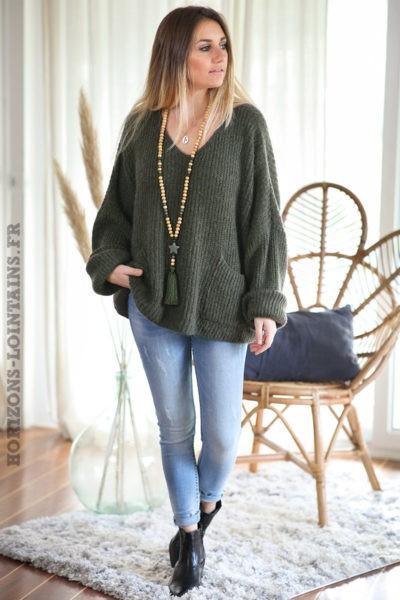 Pull-loose-kaki-mohair-avec-poches-vêtement-femme-hiver-C218