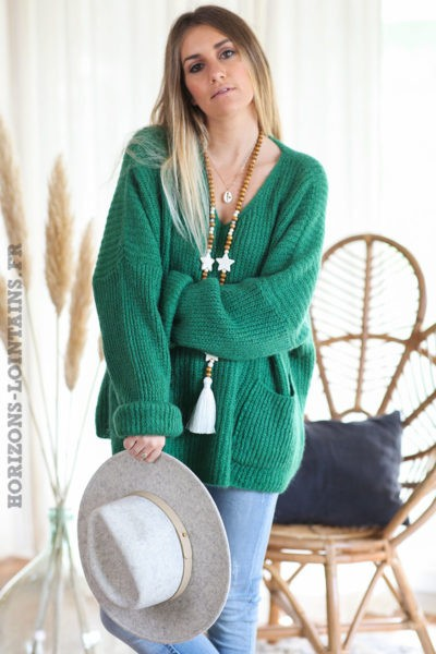 Pull-loose-vert-mohair-avec-poches-vêtement-femme-hiver-C218