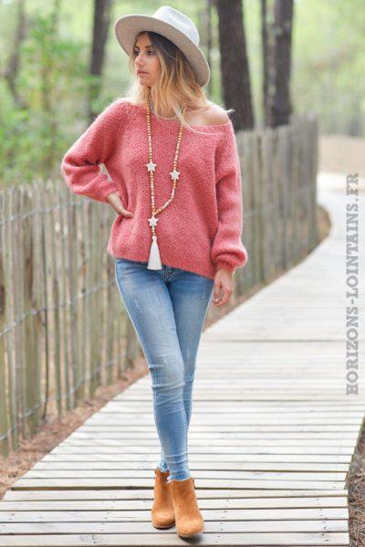 Pull-rose-framboise-moelleux-jolie-maille-col-rond-vêtement-femme-matière