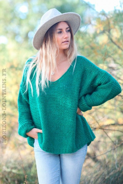 Pull-vert-maille-point-mousse-c180