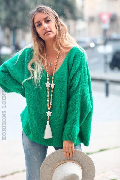 Pull-vert-mailles-manches-chauve-souris-c226