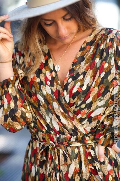 Robe-cache-cœur-kaki-imprimé-floral-automne-esprit-bohème-style-hippie-C161
