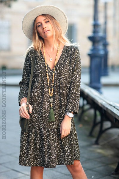 Robe-kaki-avec-imprimé-léopard-noir-c164
