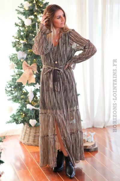 Robe-longue-chocolat-avec-imprimé-sequins-dorés-c163