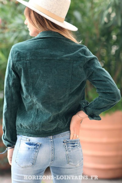 Veste-vert-bouteille-courte-matière-velours-manteaux-femme-esprit-bohème-hippie-C211
