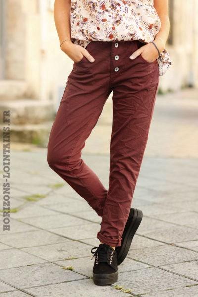 pantalon femme bi matière bordeaux